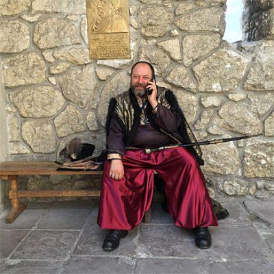 Cossack on a Cell Phone Lviv Ukraine1