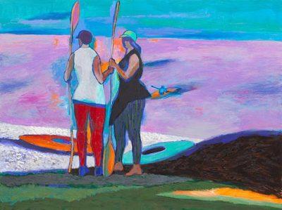 two kayaks pink sea