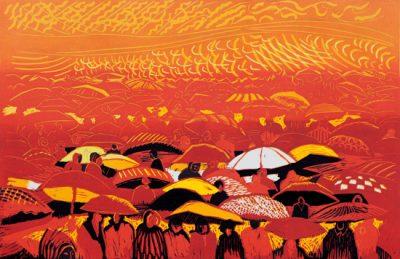 umbrellas red