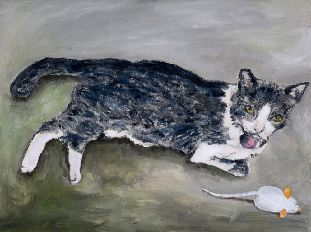 Mousie, 2018, oil on wood panel, 12-h x 16-w