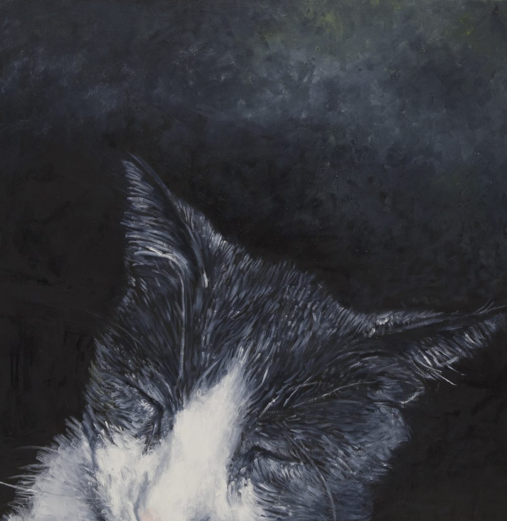 Pensativo, 2018, oil on wood panel, 32h x 32w,