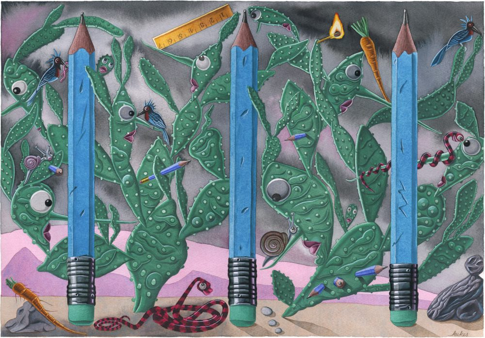 Blue Pencils With Cacti