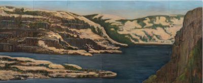 The Gorge at the Dalles, 36 x 86 screen print and oil painting on panel
