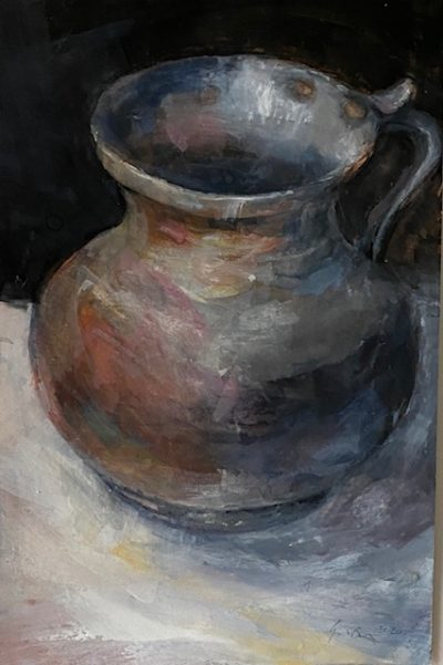 study of a pewter pitcher