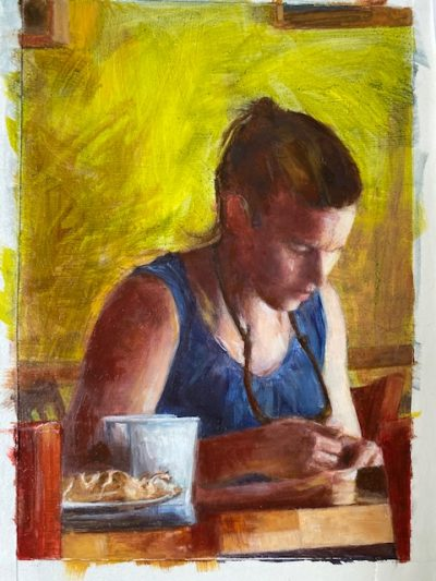 head of a girl in a coffee shop