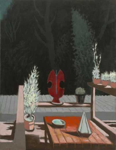 deck with red sculpture