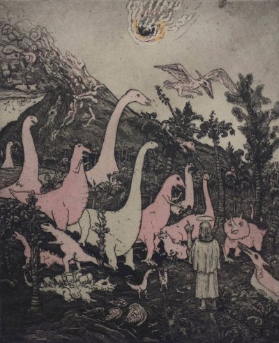 Jesus Preaching to the Dinosaurs-colored-brighter