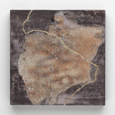 65_Dancing WIth Kintsugi, Oxidized Japanese silver leaf, mineral pigments, gold leaf on paper on panel, 6 x 6 inches